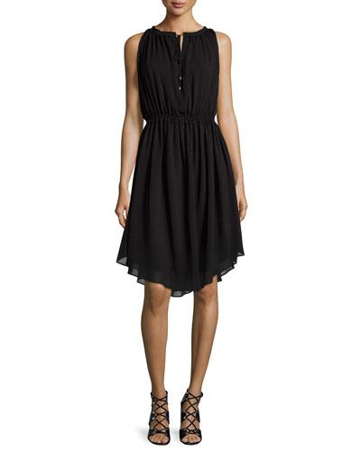 Sleeveless Shirred Chiffon Dress, Black