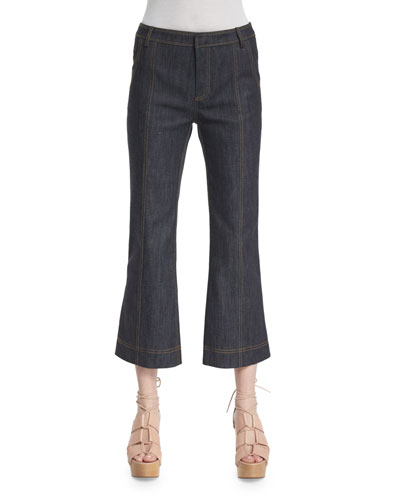 Cropped Flare Jeans, Denim