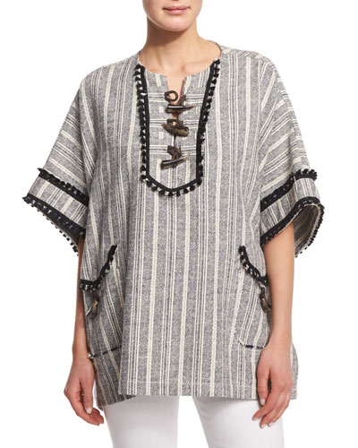 Striped Toggle-Front Poncho, Midnight/Soft White