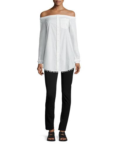 Long-Sleeve Poplin Off-the-Shoulder Shirtdress, Soft White