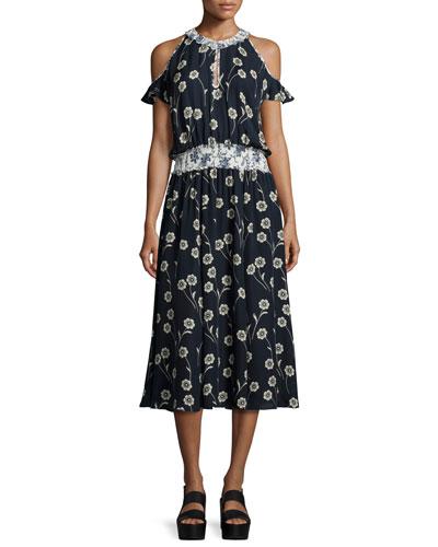 Floral Silk Cold-Shoulder Midi Dress, Midnight