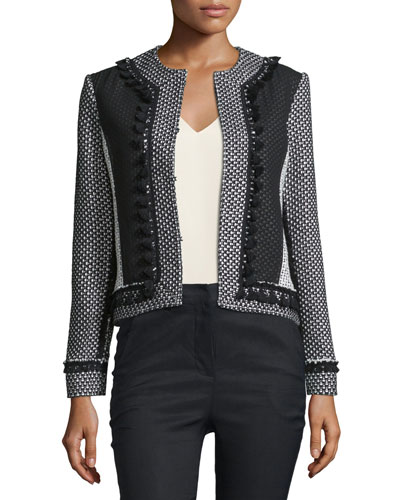 Tassel-Trim Tweed Linen-Blend Jacket, Soft White/Black