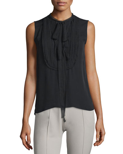 Bevin Sleeveless Self-Tie Blouse, Black