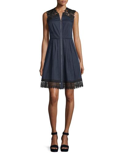 Sleeveless Lace-Trim Dress, Navy Yard