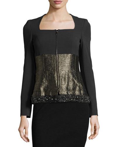 Long-Sleeve Mixed-Media Jacket, Black