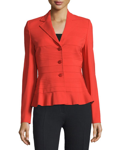 Three-Button Slim-Fit Jacket, Carmine