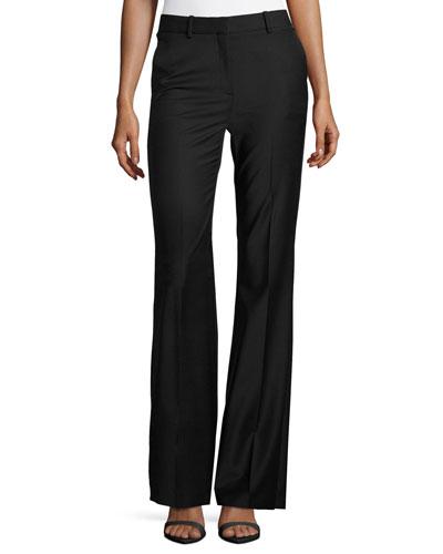Jotsna Continuous Stretch-Wool Pants, Black