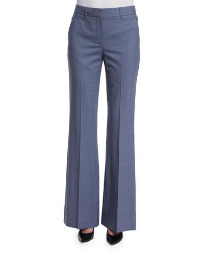Jotsna Continuous Wool-Blend Pants, Denim Melange