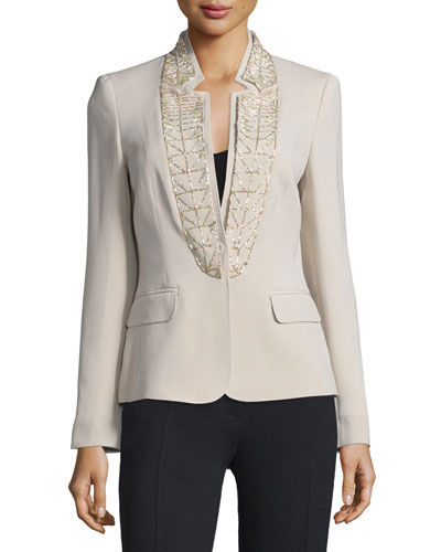 Embellished Stand-Collar Jacket, Solitaire