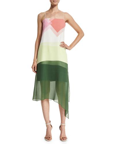 Pieze Colorblock Slip Dress, Candy Pink/Multicolor