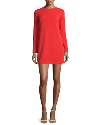 Long-Sleeve Structured Crepe Dress, Scarlet Red