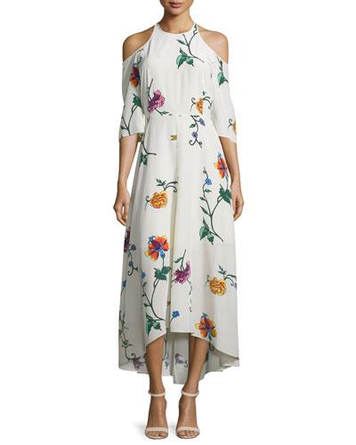 Bella Floral Silk Cold-Shoulder Midi Dress, Opal/Beige