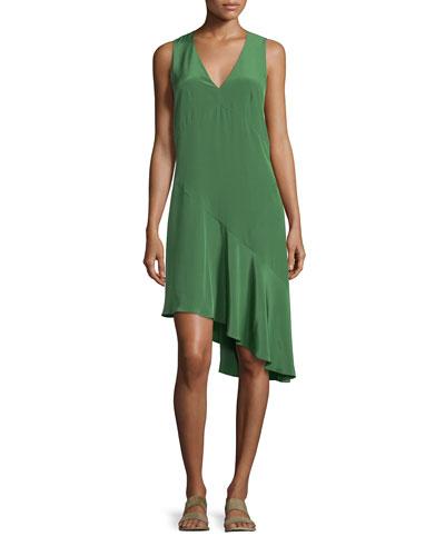Sleeveless Silk Shift Dress, Vine Green