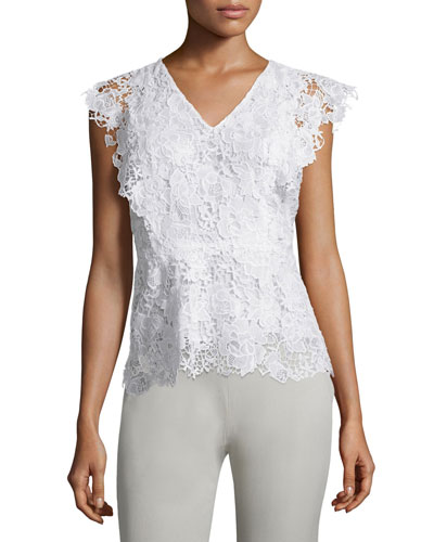 Yaara Cap-Sleeve Floral-Lace Blouse