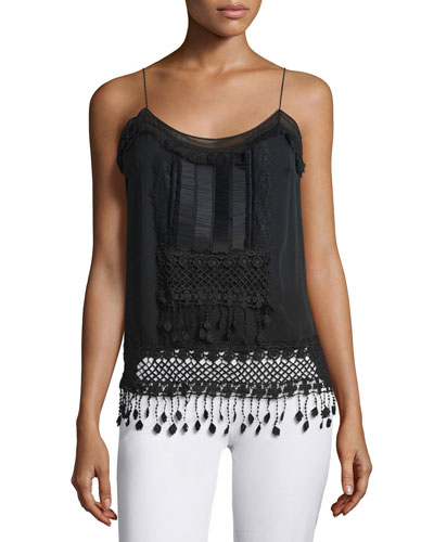 Thelma Sleeveless Embroidered Blouse, Black