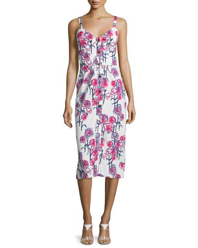 Sleeveless Gardenia-Print Midi Dress, White/Hibiscus