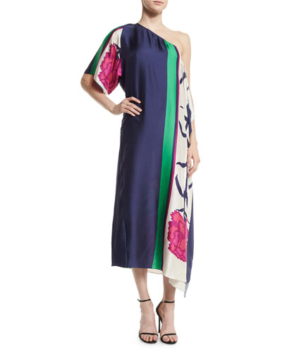 Mae Floral Scarf Midi Dress, Hibiscus/Emerald