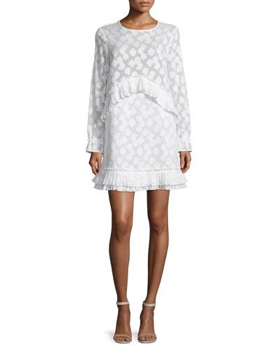 Simi Long-Sleeve Fil Coupe Dress, White
