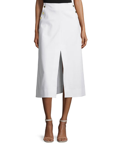 Ines Stretch Twill Midi Skirt, White
