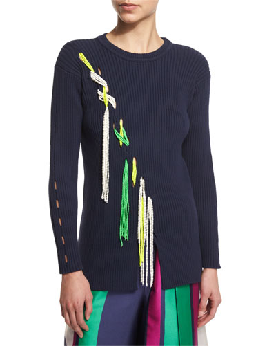 Jane Ribbed Tassel-Trim Pullover Sweater, Midnight