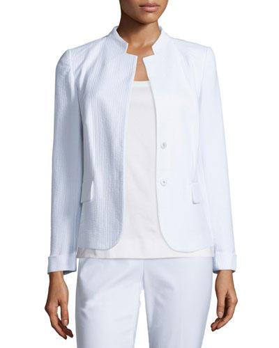 Emilia Snap-Front Jacket, White