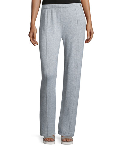 Wide-Leg Cashmere Pants, Flannel