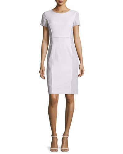 Jones Short-Sleeve Sheath Dress, Cloud/Multi
