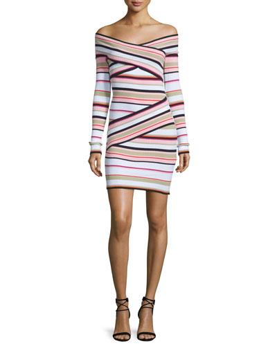 Off-the-Shoulder Striped Crossover Dress, Multicolor