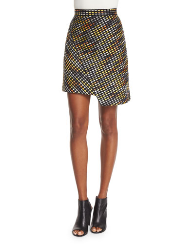 Optical Textured Asymmetric Skirt, Multicolor