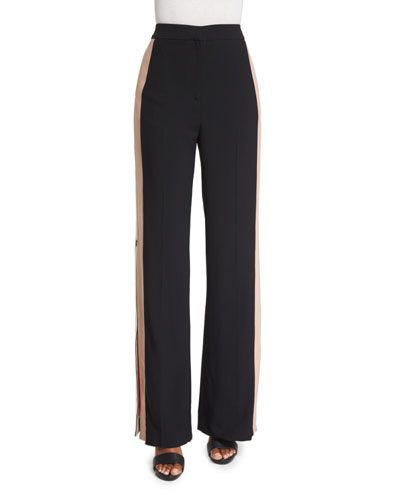 Colorblock Side-Stripe Wide-Leg Pants, Black