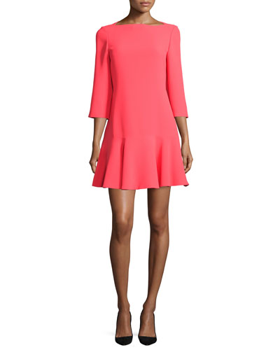 3/4-sleeve bateau-neck flounce dress, geranium