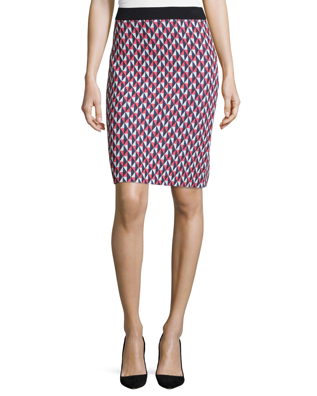 geometric-print pencil skirt