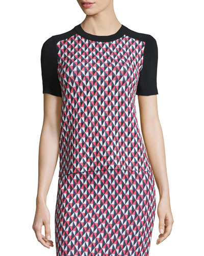 short-sleeve geometric-print top