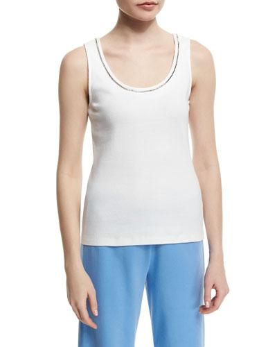 JOAN VASS Golden-Chain Sleeveless Cotton Tank Top, Plus Size in White