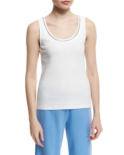 Sleeveless Chain-Trim Tank, White, Petite