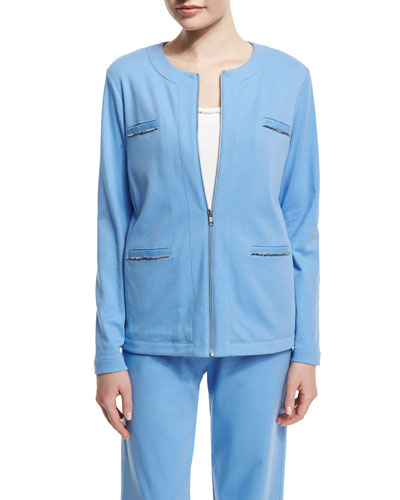Long-Sleeve Four-Pocket Chain-Trim Jacket, Cornflower, Plus Size