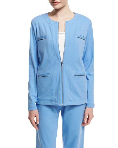Long-Sleeve Four-Pocket Chain-Trim Jacket, Cornflower, Plus Size