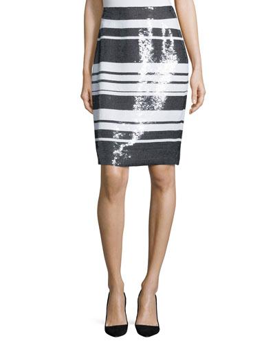 sequined cape-stripe pencil skirt