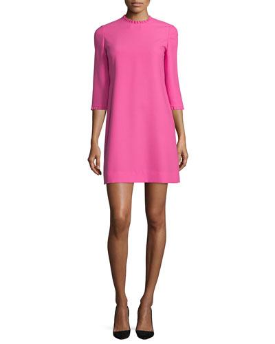 dizzy 3/4-sleeve dress with ruffle trim