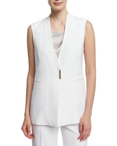 V-Neck Long Vest, White