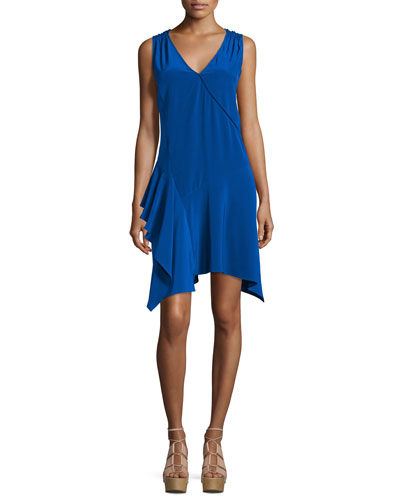 Sleeveless Asymmetric Draped Tank Dress, Cobalt