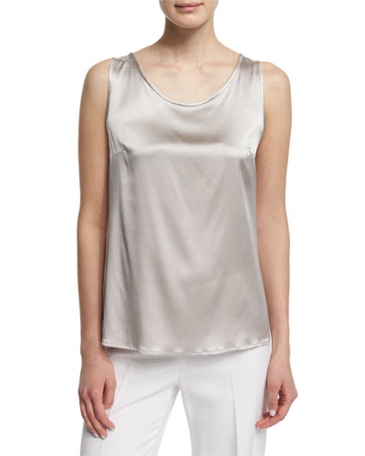 Scoop-Neck Charmeuse Shell, Stone