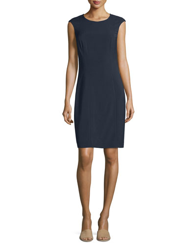 Cap-Sleeve Round-Neck Sheath Dress, Navy