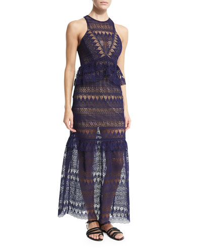 Sleeveless Teardrop Lace Maxi Dress, Navy