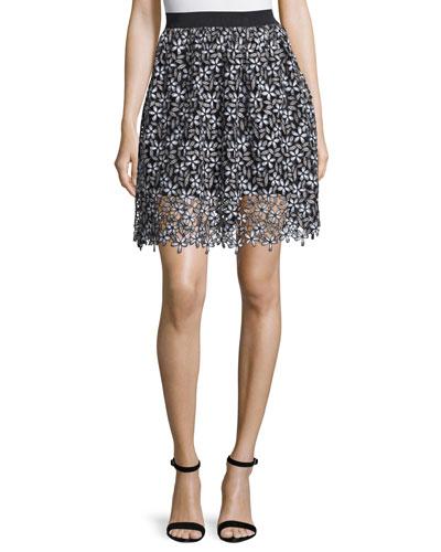 Daisy Lace A-Line Skirt, Black/White
