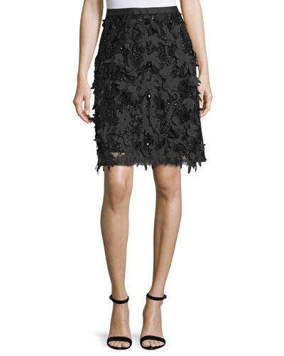 Mid-Length Embellished Skirt, Black