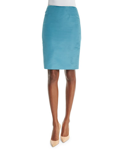 Mid-Rise Pencil Skirt, Wedgewood