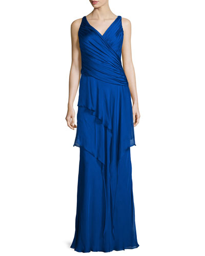 Sleeveless Ruffle-Front Column Gown