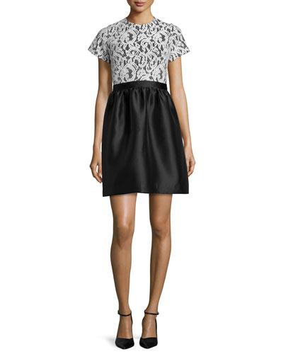 Short-Sleeve Lace-Bodice Dress, Snow/Jet