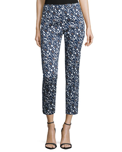 Slim-Leg Geometric-Print Cropped Pants, Navy Print